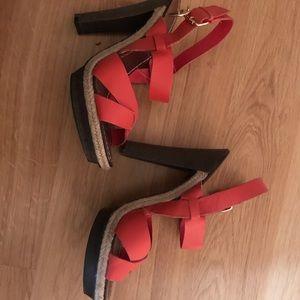 BCBG orange leather strap wooden heels